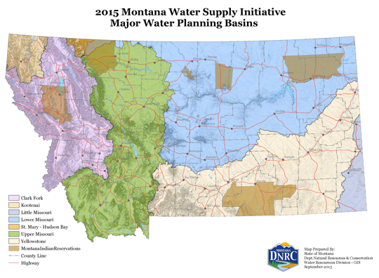 MWSI Major Water Planning Basins Map