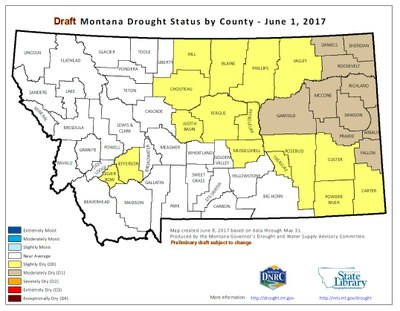 June 1, 2017 Montana Drought Map