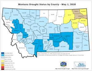 Drought Status Map by County May 2018